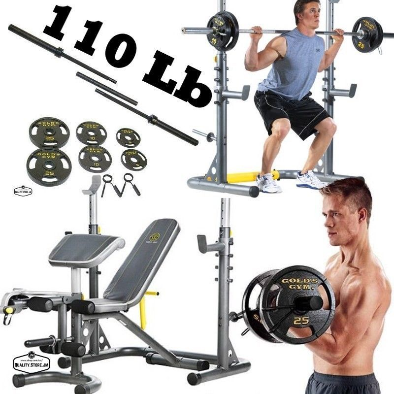Olympic Weight Bench Set With Bar Plates Lifting Equipment Home Gym Workout Rack