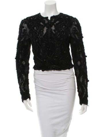 Marchesa Embellished Long Sleeve Top