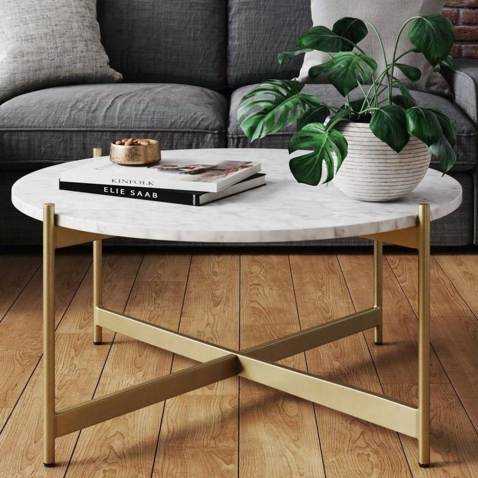 Nathan James Piper White Faux Marble Brass Gold Metal Frame Round Modern Living Room Coffee Ta Coffee Table Living Room Modern Coffee Table Design Coffee Table [ 960 x 960 Pixel ]