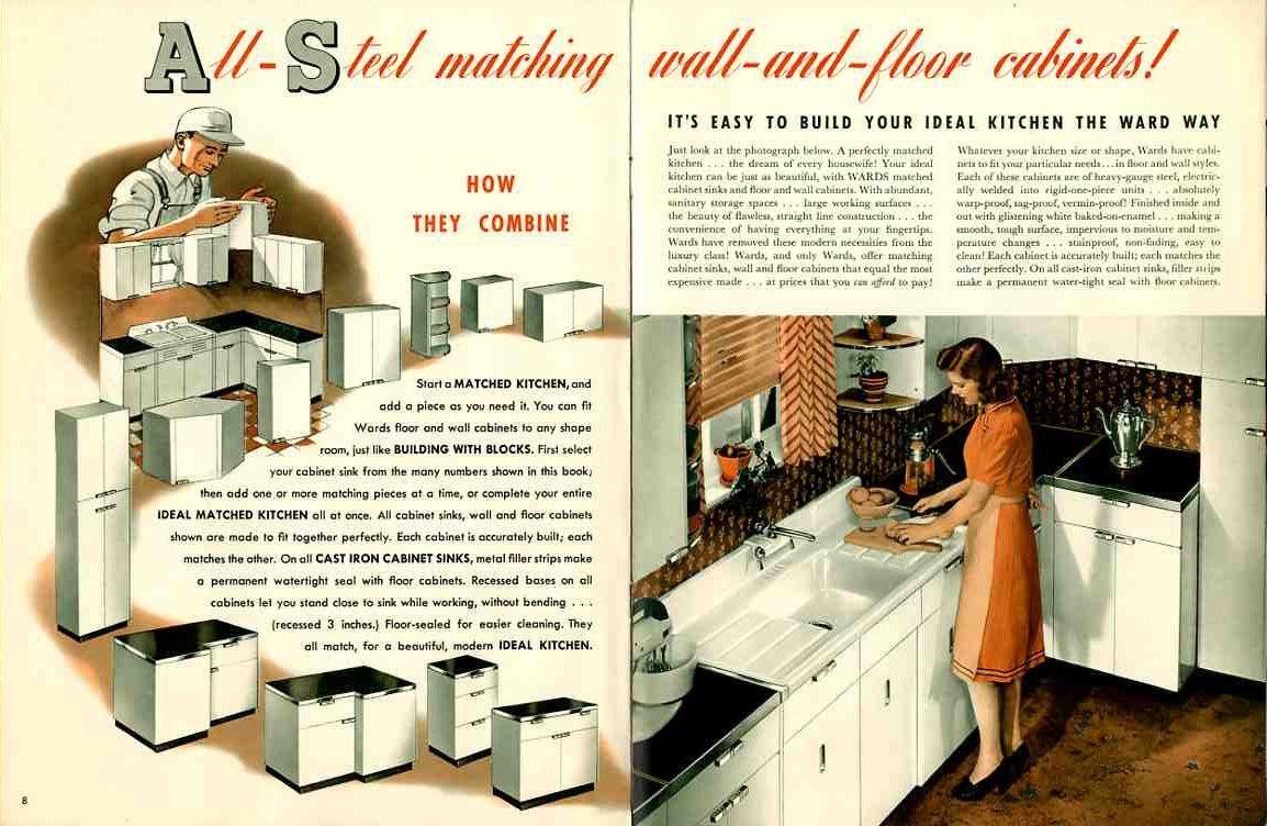 Update Montgomery Ward Steel Kitchen Cabinets A Catalog From 1941 Steel Kitchen Cabinets Retro Kitchen Metal Kitchen Cabinets