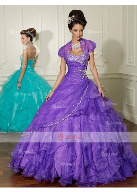 Ball Gown Sweetheart Backless Natural Organza Cheap Purple Quinceanera Dresses