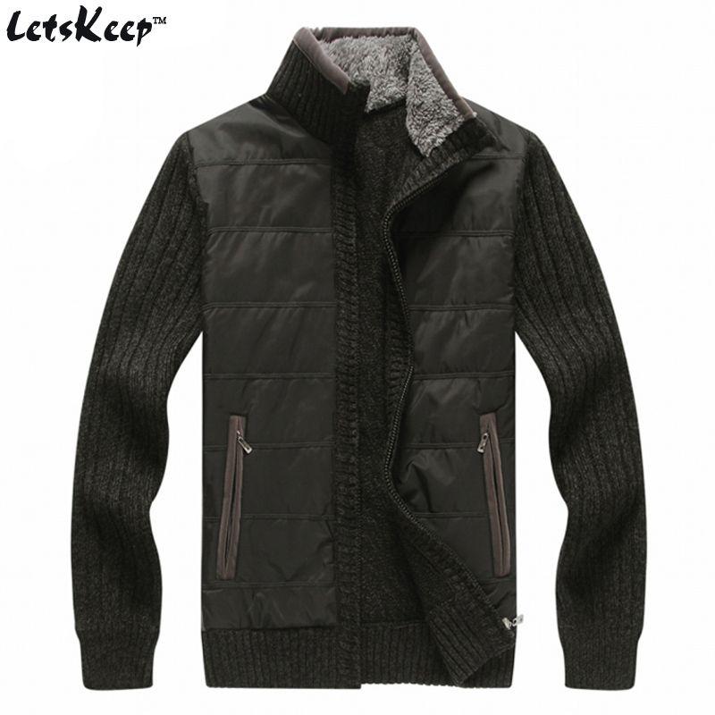 LetsKeep 2016 fleece mens cardigan zipper casual patchwork men's ...