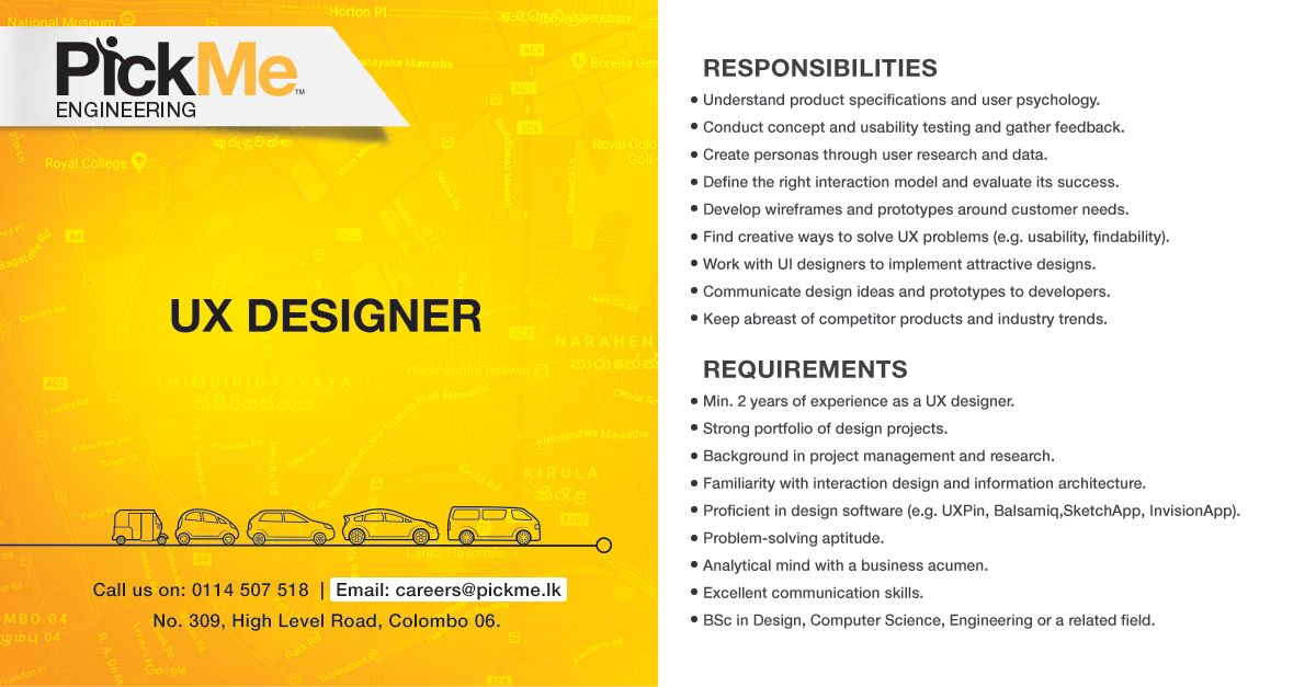 Pickme Is On The Lookout For Suitable Candidates To Fill In The Following Job Description Of Ux Designer Pickmelk Jo Ux Design Design Jobs Usability Testing