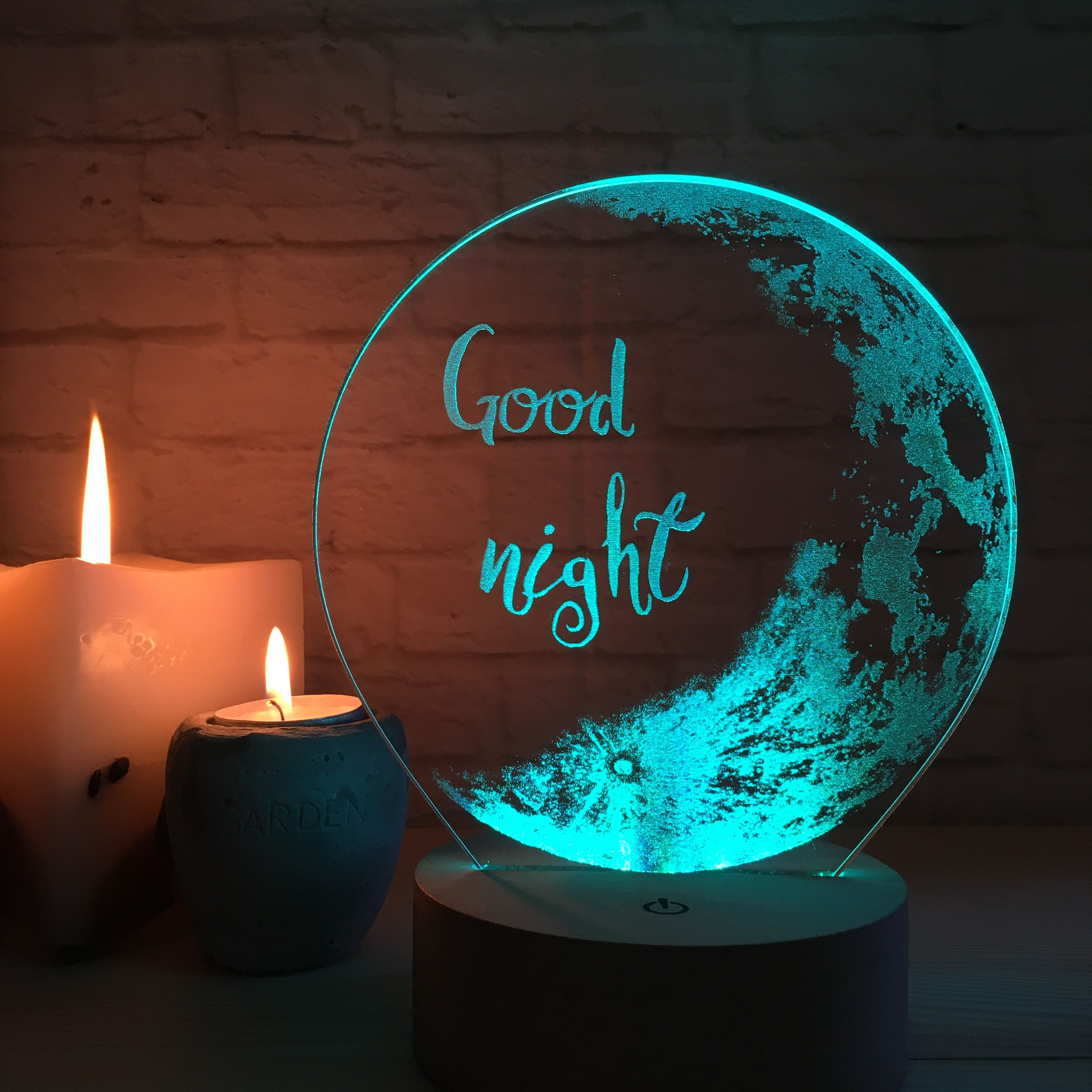 Good Night Wish Bedroom Table Lamp LED, Moon Shade Personalized