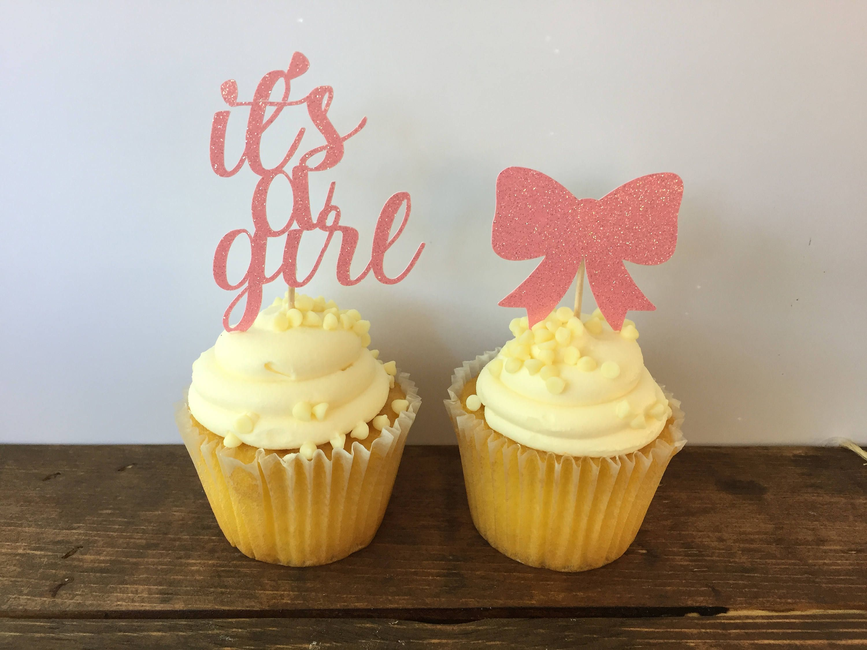 It s a Girl Cupcake Toppers Bow Cupcake Toppers Baby Girl