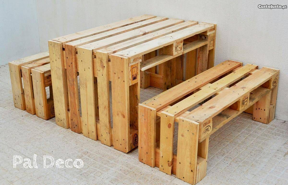 Mesa e bancos em paletes de madeira venda m veis for Banco de paletas de madera