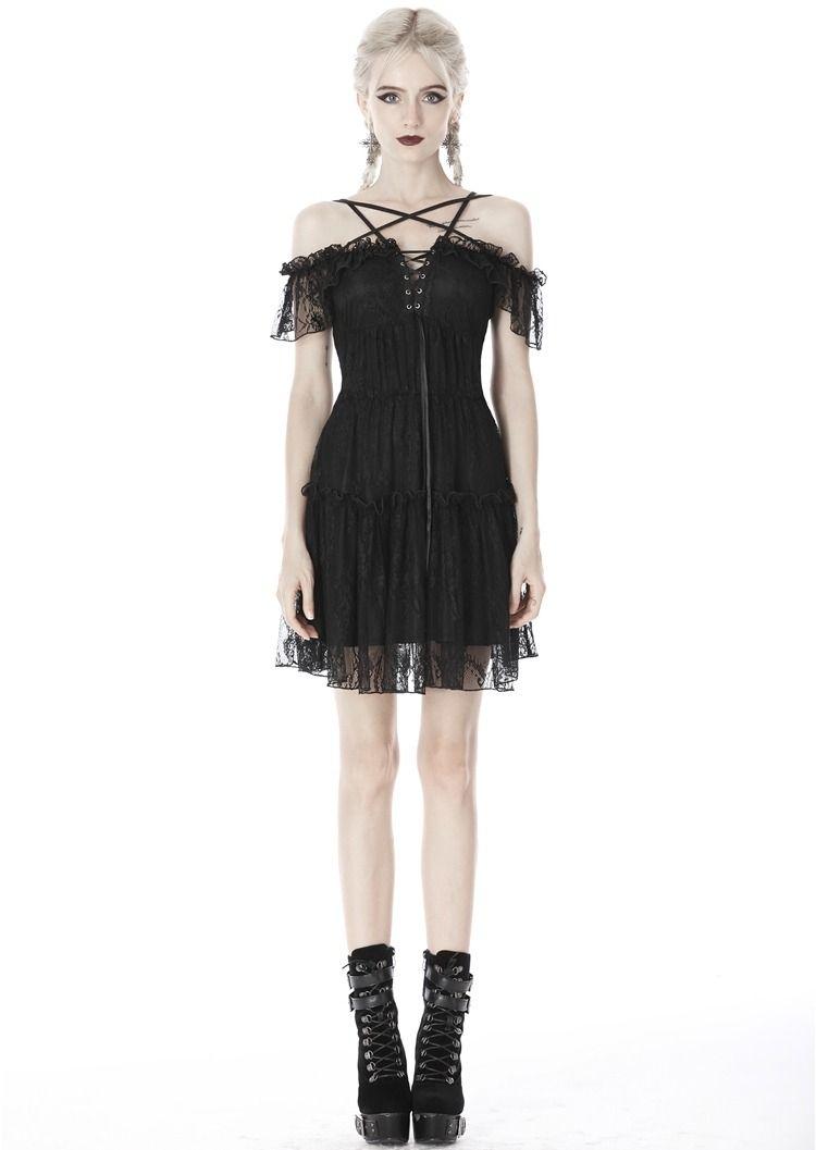Dark In Love Black Gothic Off The Shoulder Lace Pentagram Short Dress Evening Mini Dresses Short Dresses Lace Mini Dress [ 1057 x 750 Pixel ]