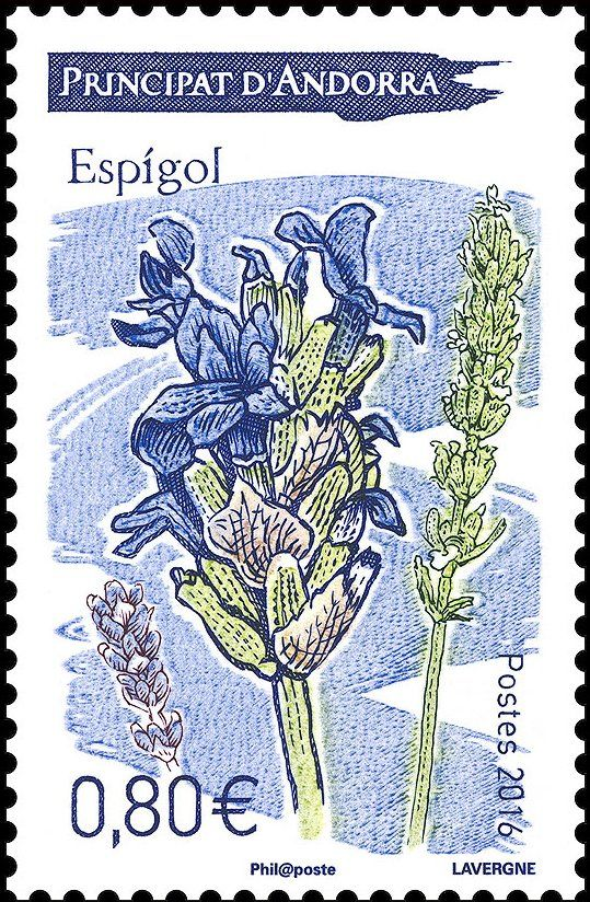 Stamp3A20Lavender20Andorra2C20French20Administration20Flowers20Yt3AAD FR207902CMi3AAD FR208102CUn3AAD FR207892023colnect20