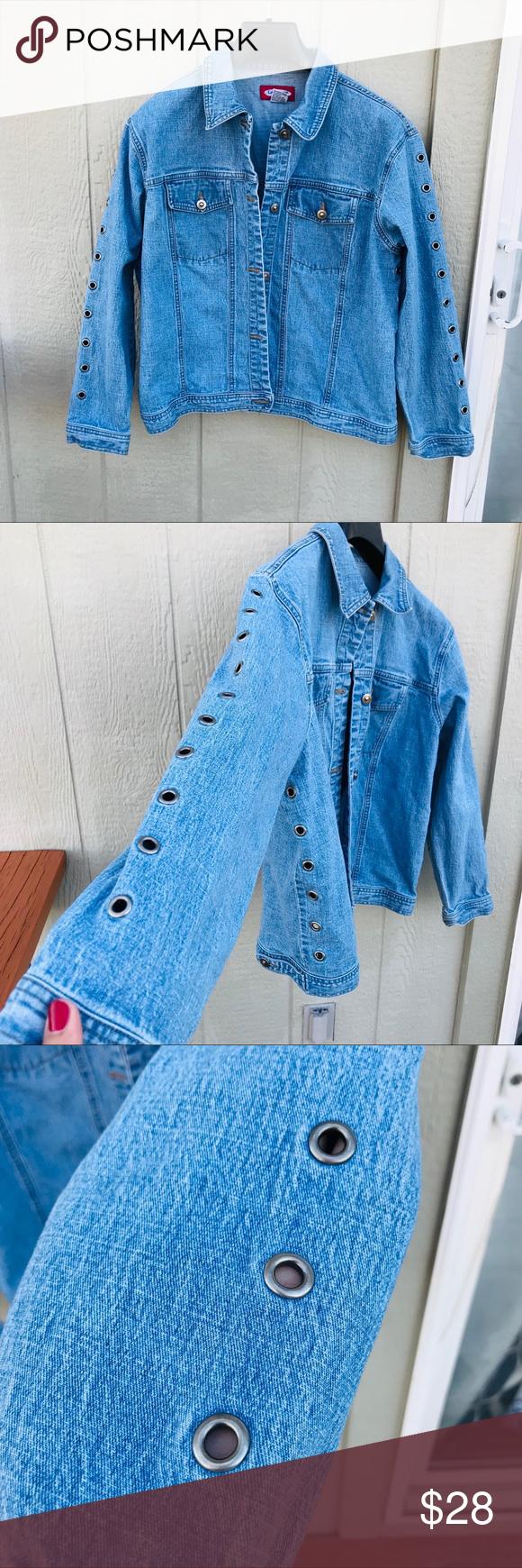 90s Vtg Denim Jean Jacket Studded Hole Accents Vintage Jean Jacket Vintage Jeans Denim Jean Jacket [ 1740 x 580 Pixel ]