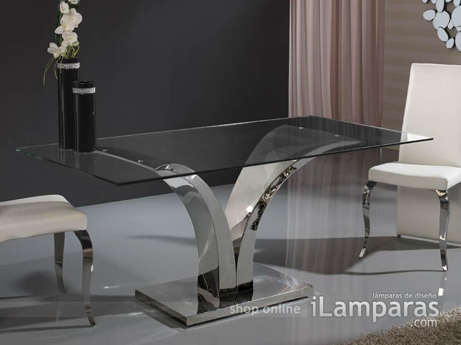 Schuller Isabella Mesa Comedor Acero Inox/Cristal 180cm | Comedor ...