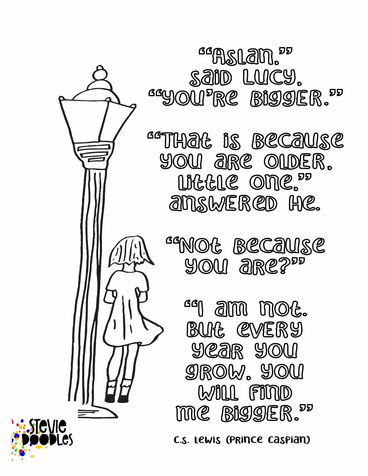 Lucy Lamppost 3 Free Coloring Pages With Narnia Quotes Stevie Doodles Free Coloring Pages Narnia Quotes Free Printable Coloring Pages