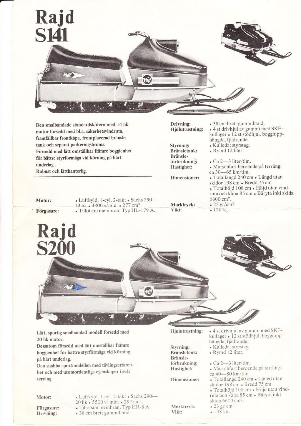 Rajd snöskoter program 1972 Rajd snowmobile lineup 1972