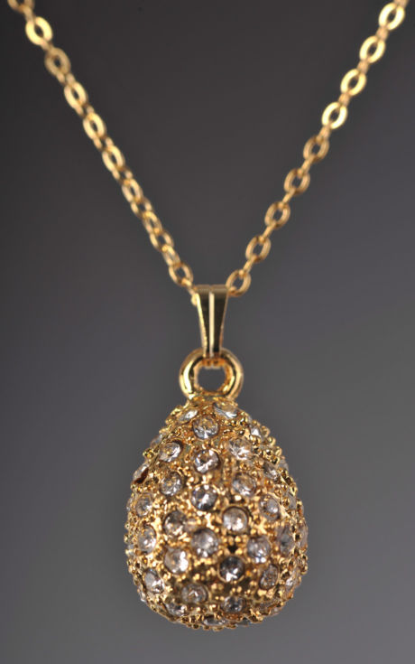 Gold faberge style locket encrusted with crystals