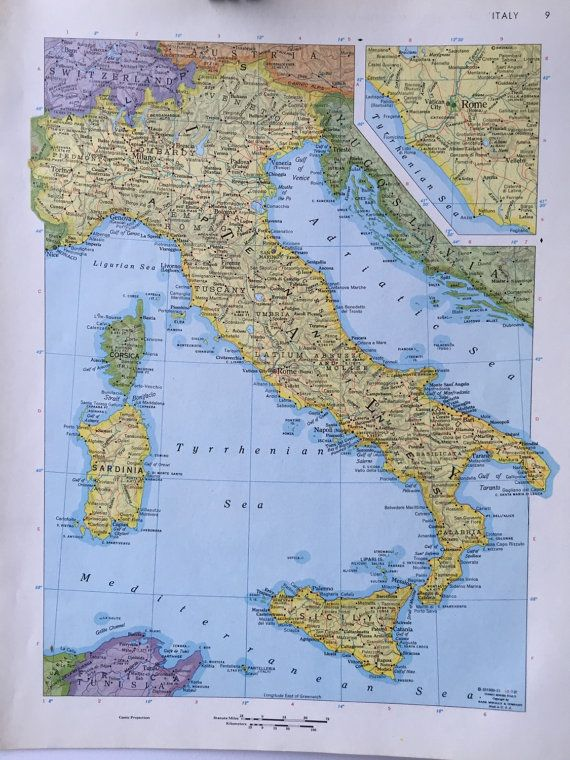 Vintage 1967 rand mcnally world atlas map page italy on one side vintage 1967 rand mcnally world atlas map page italy on one side and spain yugoslavia hungary romania bulgaria on the other side gumiabroncs Images