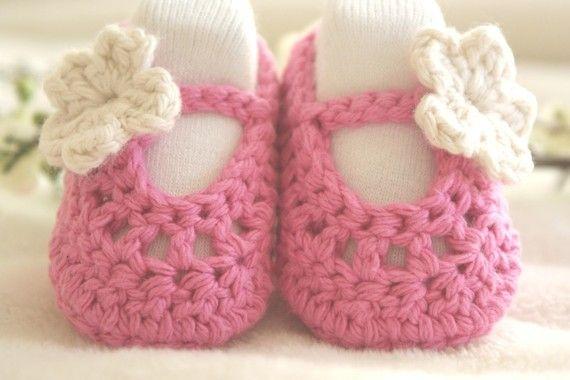 RASPBERRY and CREAM Ballerina Baby Slippers / Baby by bummybaby, $16.00