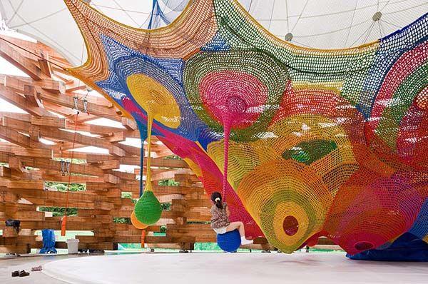 Vibrantly Colored Crocheted Playground by Toshiko Horiuchi-MacAdam.
