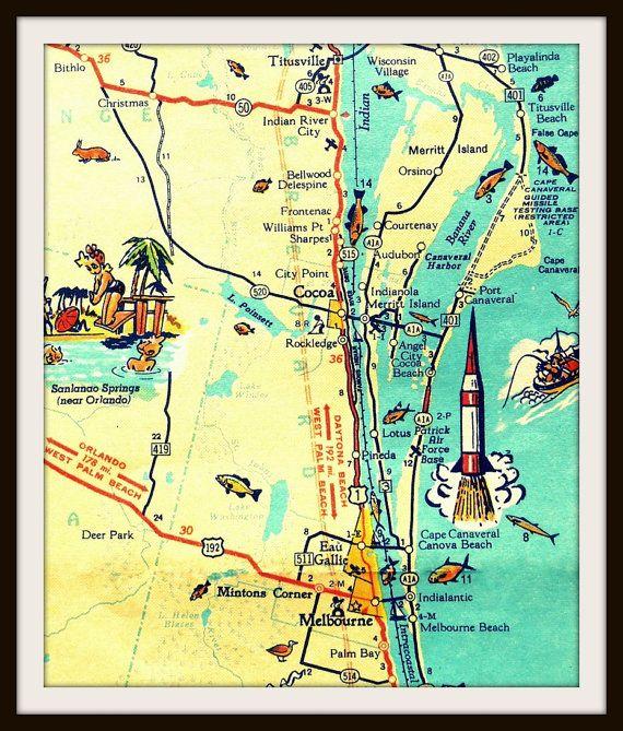 Cape Canaveral Florida Map.Cocoa Beach Map Art Print Cape Canaveral Florida Nasa Unique