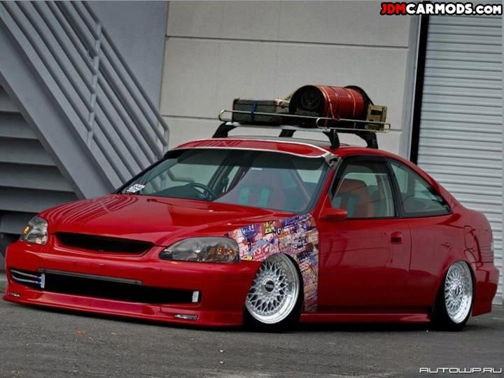Stanced Jdm Honda Civic Ek Coupe With Stickerbomb And Roof