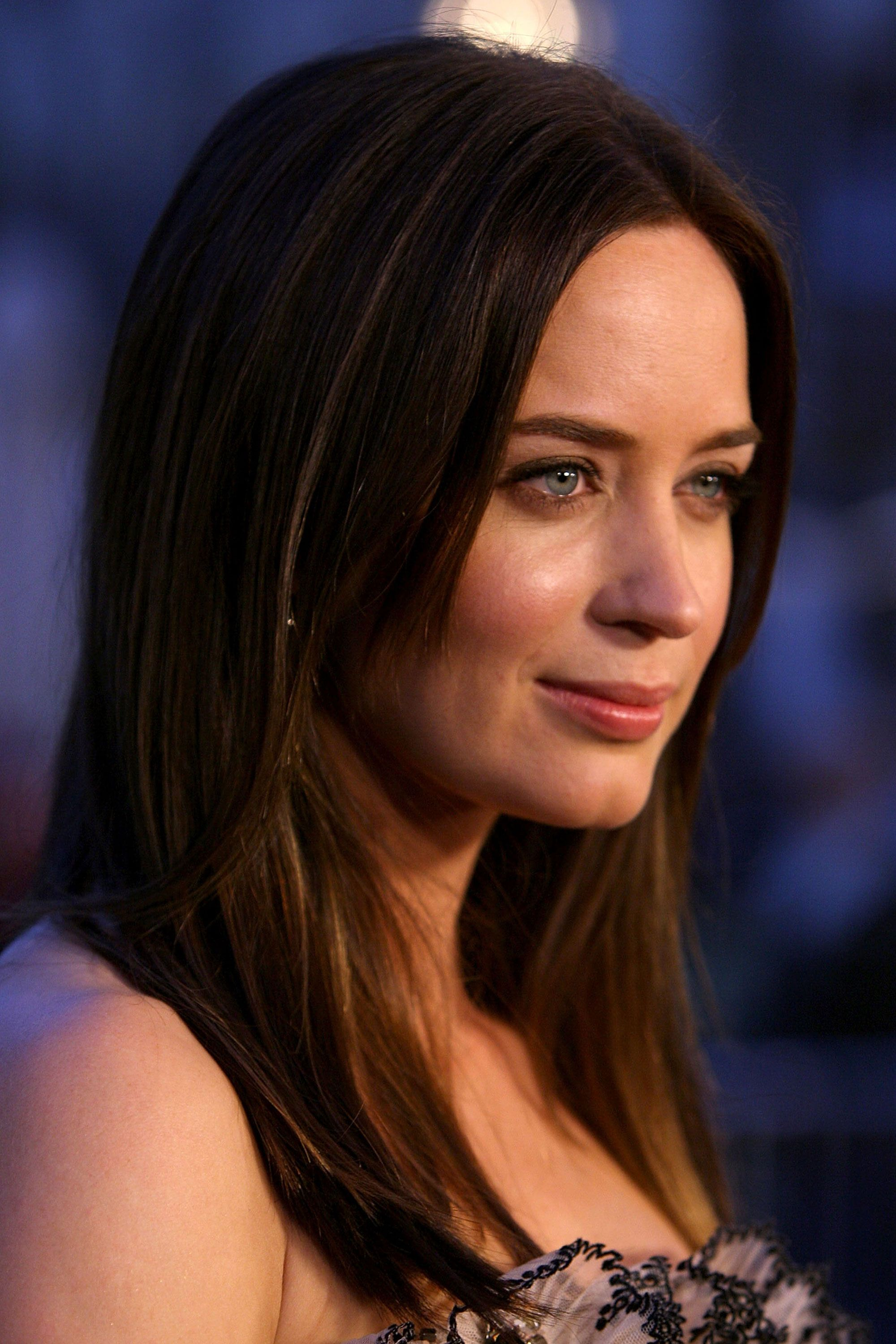 For hair that gleams like Emily Blunt's, apply a light shine serum before and after blow-drying. Use a spray version if you have fine hair and be sure to keep the stuff away from your roots. Jeff Vespa/WireImage.com -Cosmopolitan.com