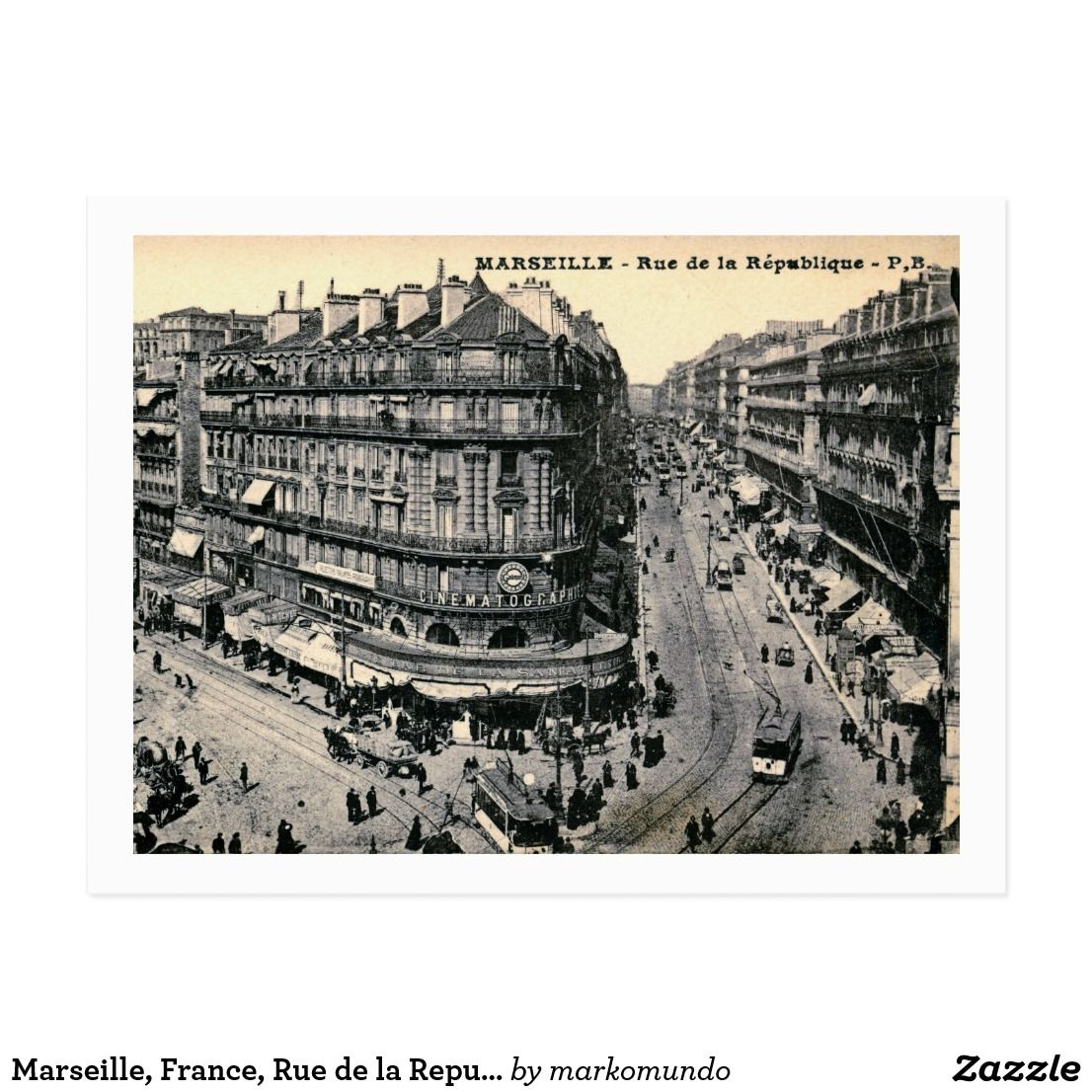 Marseille France Rue De La Republique Vintage Postcard
