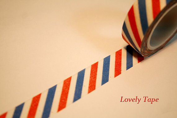 Red And Blue Air Mail Washi Tape Washi Tape Washi Paper Tape