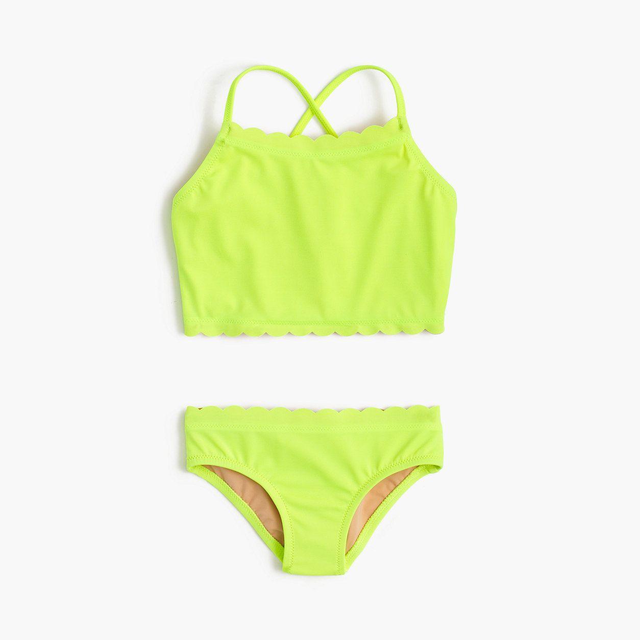 0dee0f4016c43 crewcuts Girls Scalloped Cropped Tankini Set In Neon (Size ...