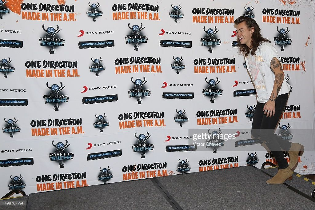 85b7e81c699978 Harry Styles of One Direction attends a press conference and photo call to promote  One Direction's album Made in the A.M. at Four Seasons Hotel on November ...