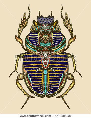 Scarab color tattoo, ancient Egypt art  Spiritual symbol of