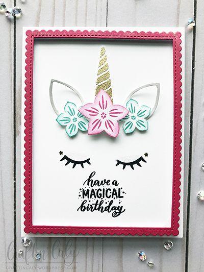 magical unicorn  pink  unicorn birthday cards unicorn