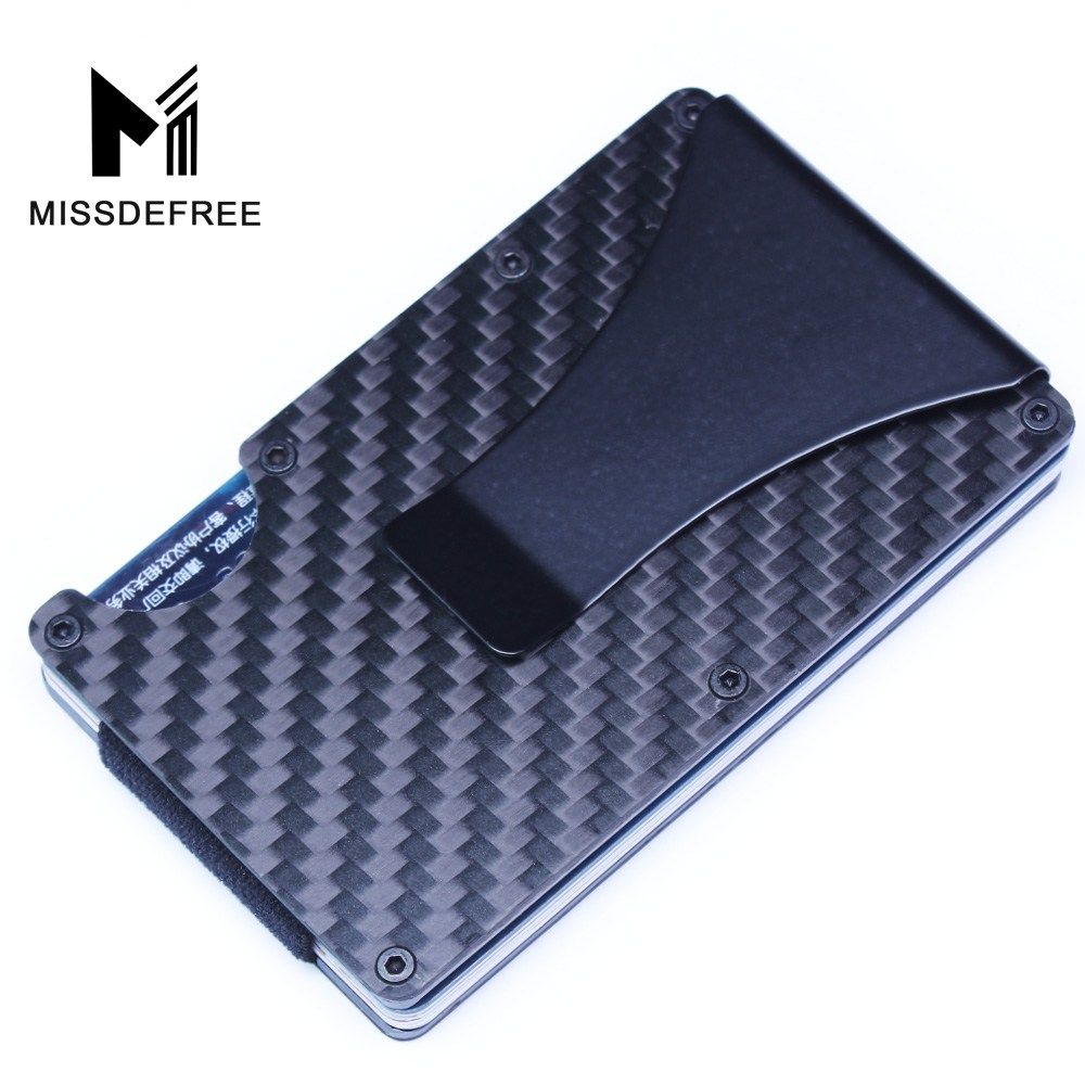Carbon Fiber RFID Mini Slim Wallet Money Clip Metal Aluminum ...