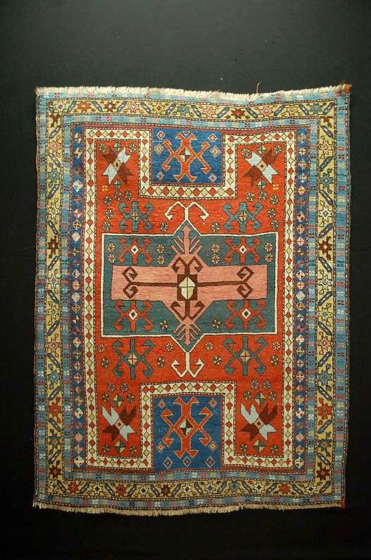 ancien tapis antique rug ca 164x135cm kasak kazak antique tribal carpets pinterest. Black Bedroom Furniture Sets. Home Design Ideas