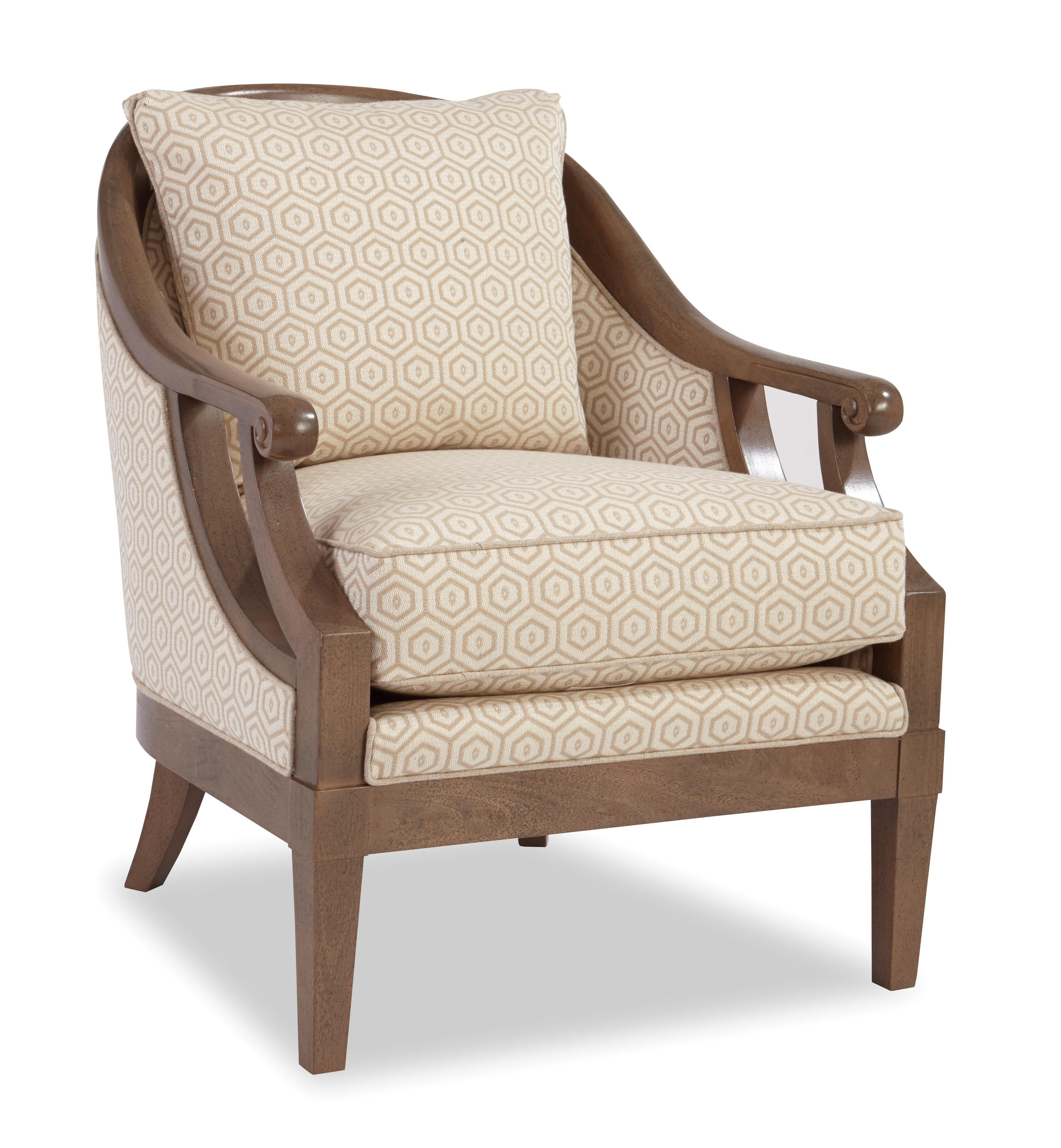 Traditional Wood Framed Accent Chair with Scroll Arms by
