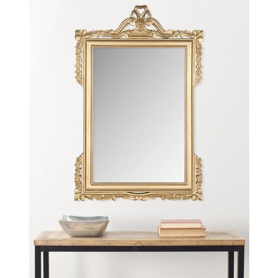 Safavieh Pedimint 47 In L X 31 In W Gold Framed Wall Mirror Lowes Com Mirror Wall Gold Mirror Wall Wood Framed Mirror