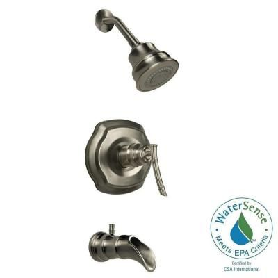 Pegasus Bamboo Watersense Single Handle 3 Spray Tub And Shower Faucet In Brushed Nickel Valve Included 873w 9004 The Home Depot Tub And Shower Faucets Shower Tub Shower Faucet