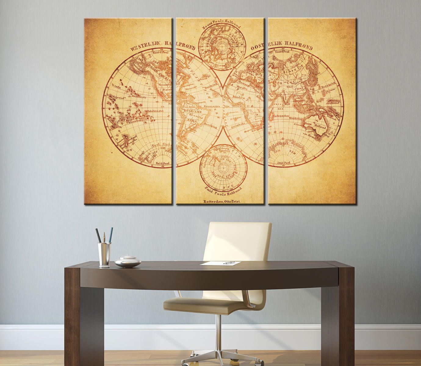 Vintage Map of the World 1860 Canvas Panels Set,Ancient World Map ...