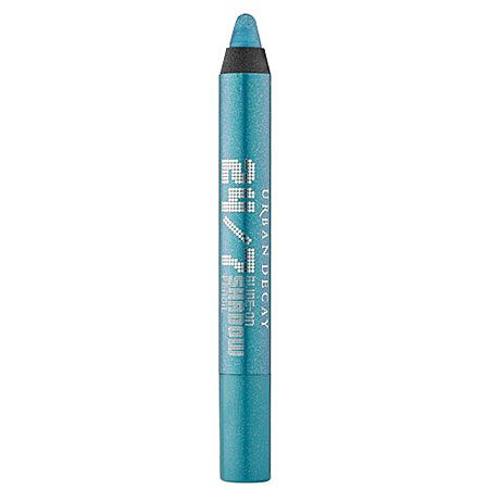 Urban Decay 24/7 Glide-On Shadow Pencil in Clash-bright turquoise with silver sparkle, $20 at Sephora, #sephoracolorwash