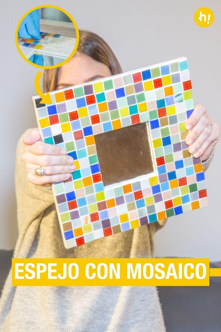 Cómo crear un espejo con mosaico | Marcos de madera, Espejo y Mosaicos