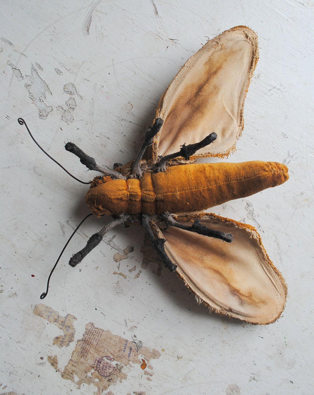 Soft sculpture moth. Unique textile art.. £64.50, via Etsy.