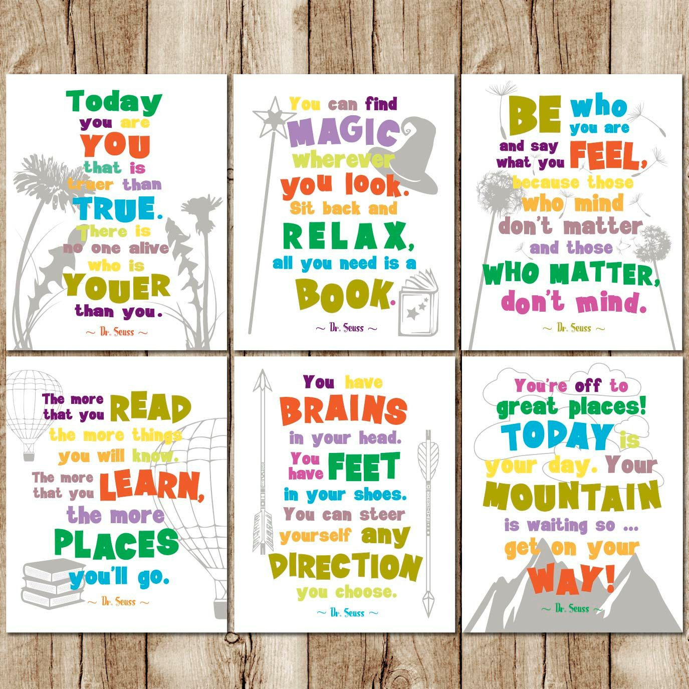 Dr Seuss Quote Prints, Childrens Room Art Set, Playroom Print Set, Dr Seuss  Wall Art, Dr Seuss Printable, Kids Room Quotes, Instant Download By ...