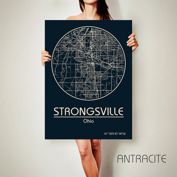 STRONGSVILLE Ohio CANVAS Map Strongsville Ohio By