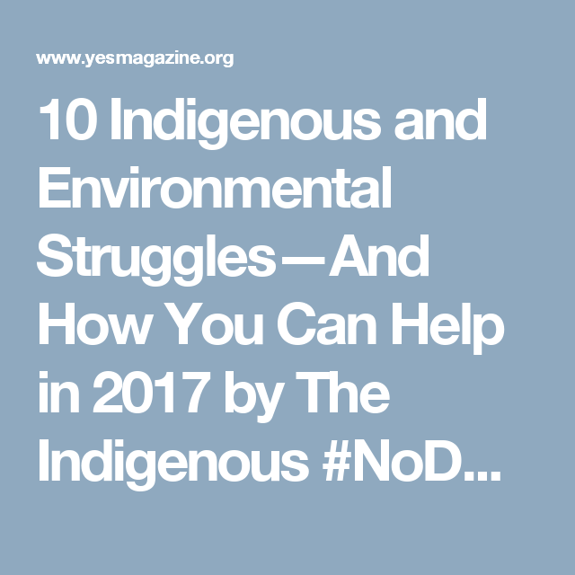 10 Indigenous and Environmental Struggles—And How You Can Help in 2017 by The Indigenous #NoDAPL Coalition — YES! Magazine