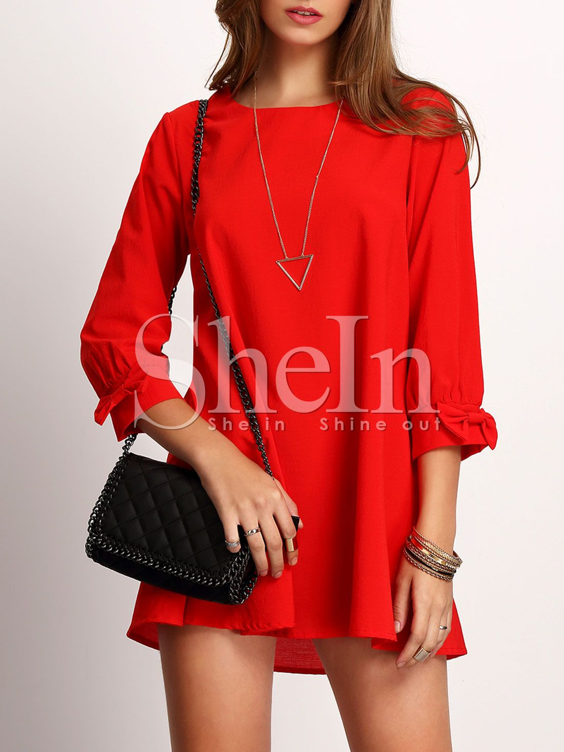 Adorewe shein dresses shein red crew neck bow cuff casual dress