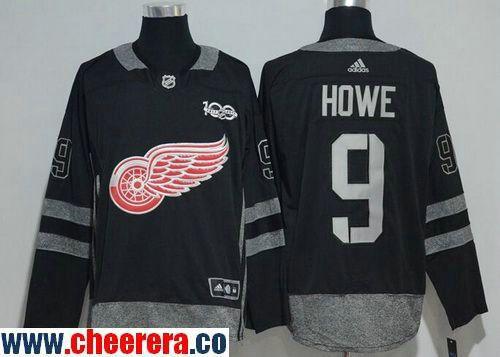 Men's Detroit Red Wings #9 Gordie Howe Black 100th Anniversary Stitched NHL  2017 adidas Hockey