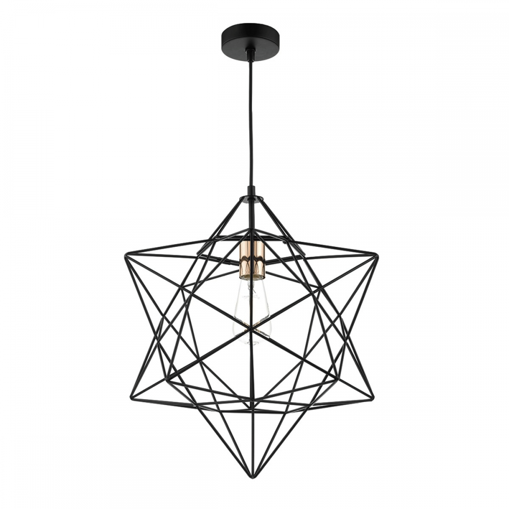 Dar Lighting Luanda Star Wire Frame Pendant In Black And Copper Wiring A Modern Light Fitting Lounge Hallway From Dusk Uk