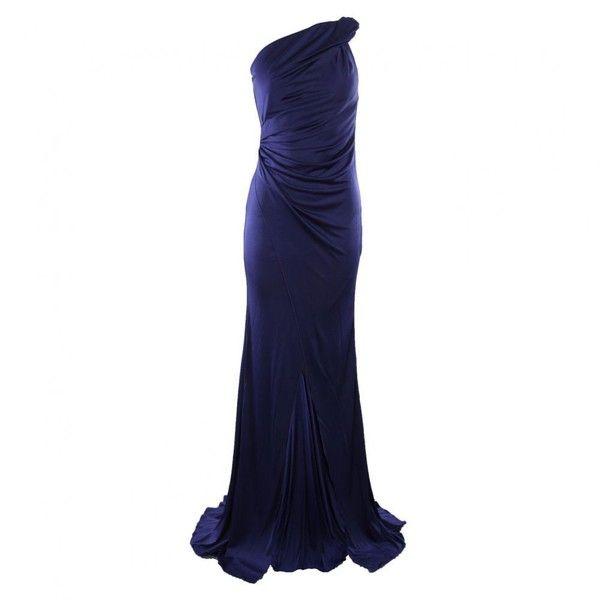 Patrizia Pepe Womens Blue One Shoulder Long Split Front Dress found on Polyvore