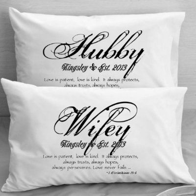 1 Corinthians 13 Love Bible Verse Pillow Cases - Wife Husband Wedding, Anniversary, Gift Idea for Couples.