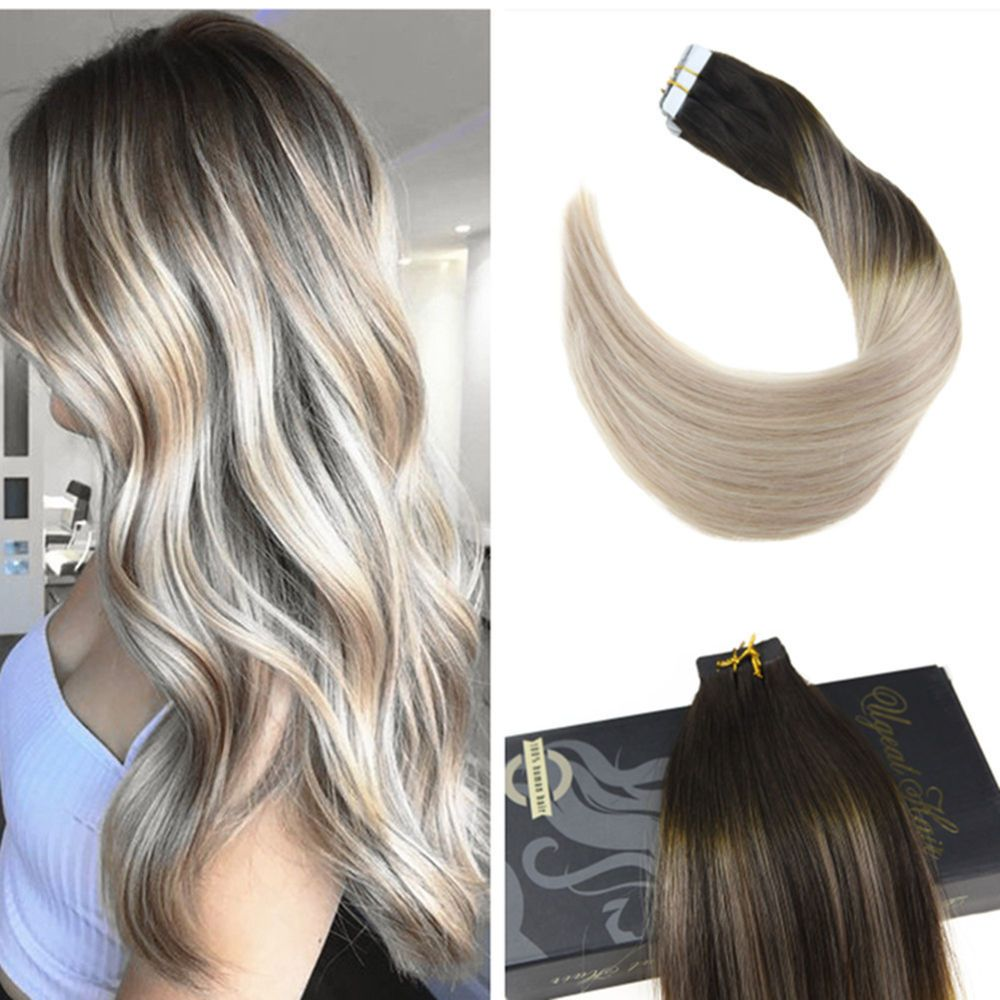 Ugeat 8a Balayage Pu Tape In Human Hair Extensions Dark Brown To