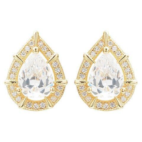 2 3/4 CT. T.W. Journee Collection Pear Cut CZ Basket Set Stud Earrings in Brass - Gold