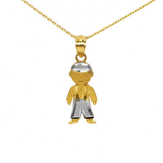 pendant gold baby solid boy charm little