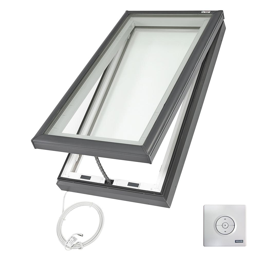 Velux 22 1 2 In X 46 1 2 In Fresh Air Electric Venting Curb Mount Skylight With Laminated Low E3 Glass Vce 2246 2004 Skylight Energy Efficient Glass Laminated Glass